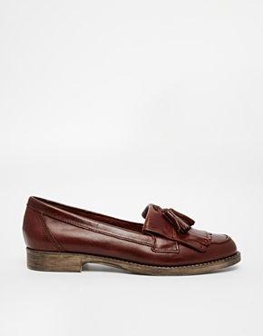 cc1aaff633db River Island Brown Flat Tassel Loafer Shoes