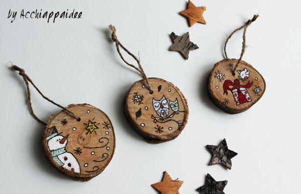 Dischi legno decorati christmas pinterest legno - Decorazioni pirografo ...