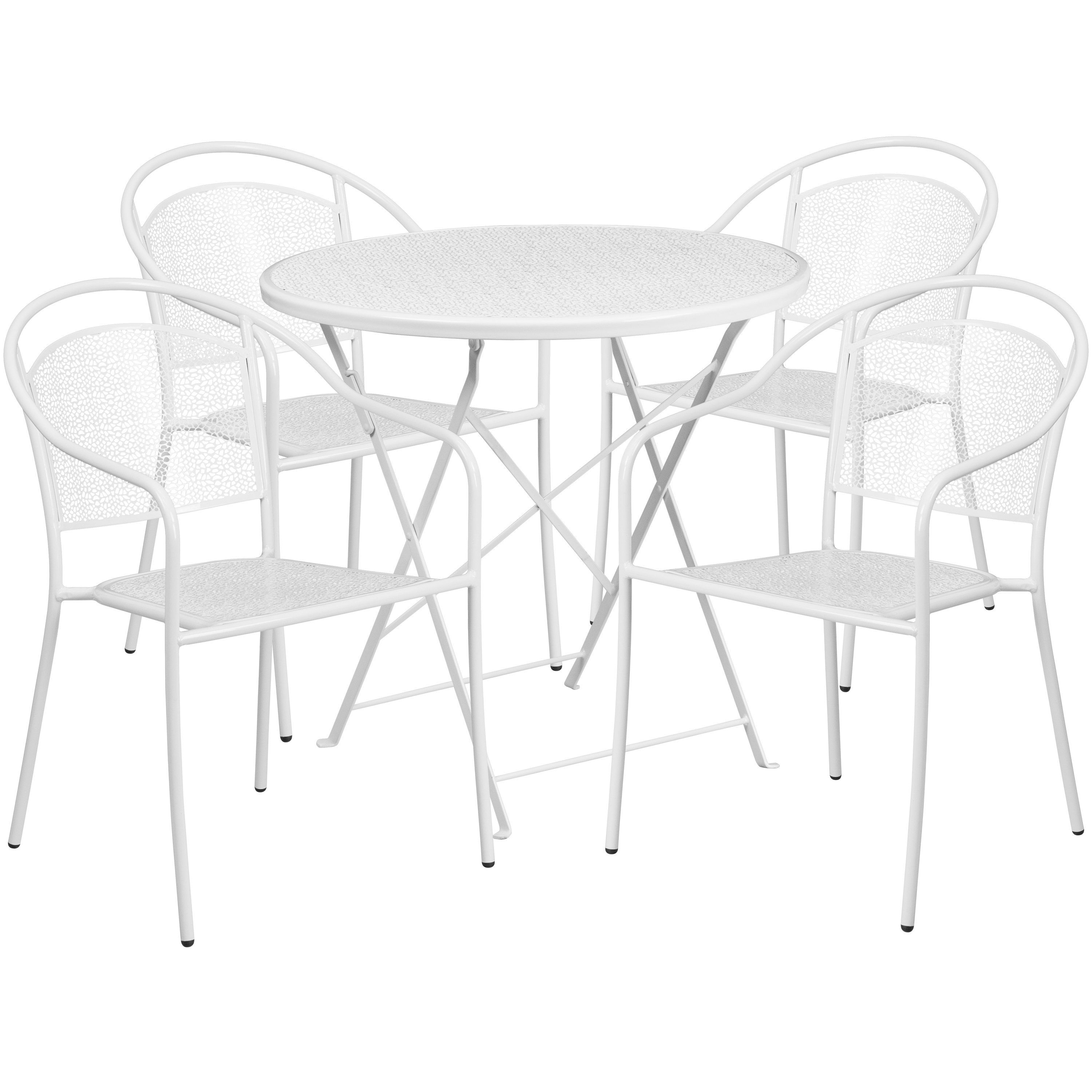 30 Round White Indoor Outdoor Steel Folding Patio Table Set With