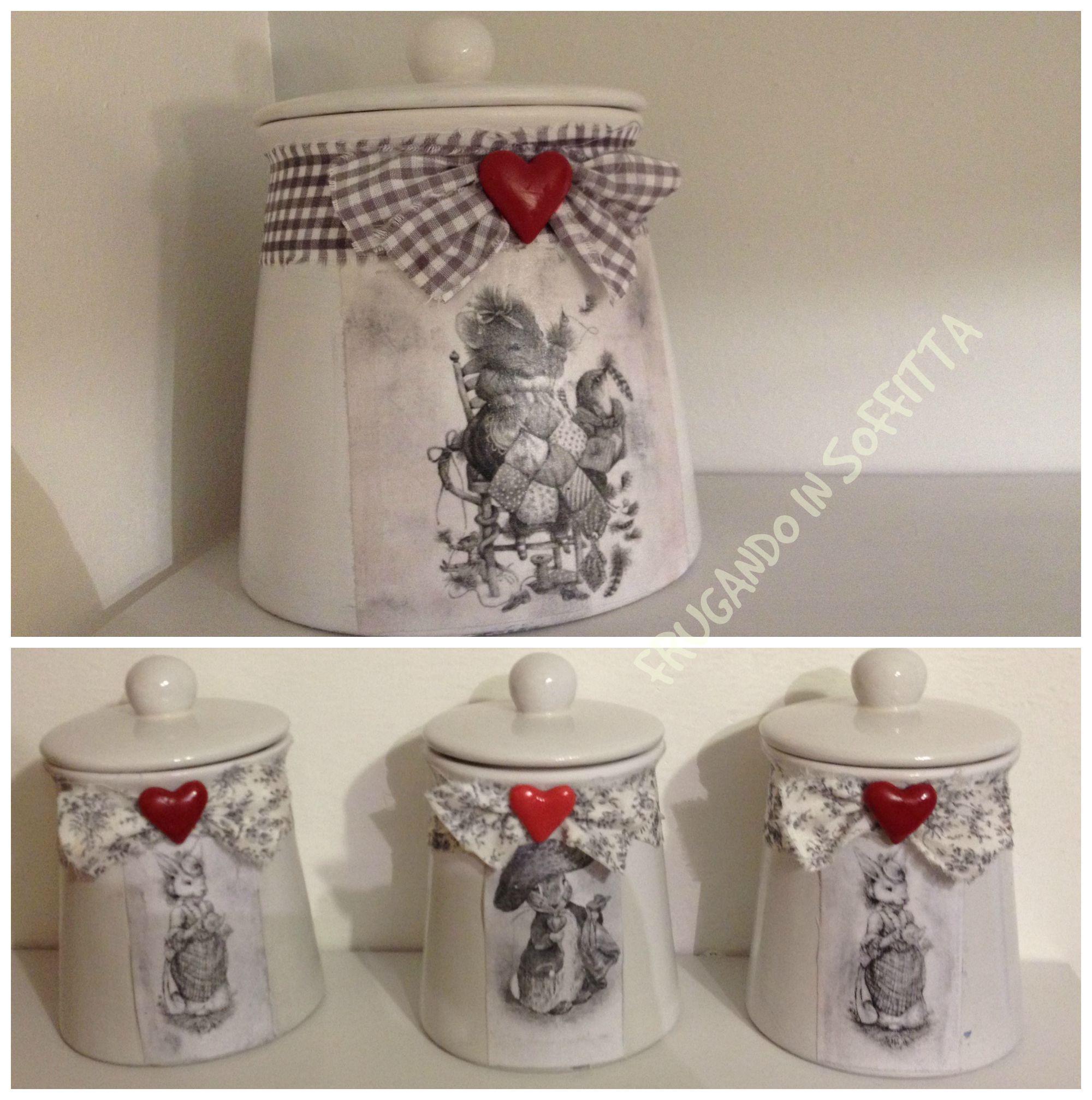 Barattoli decorati a mano stile shabby contenitori dal - Barattoli decorati shabby ...