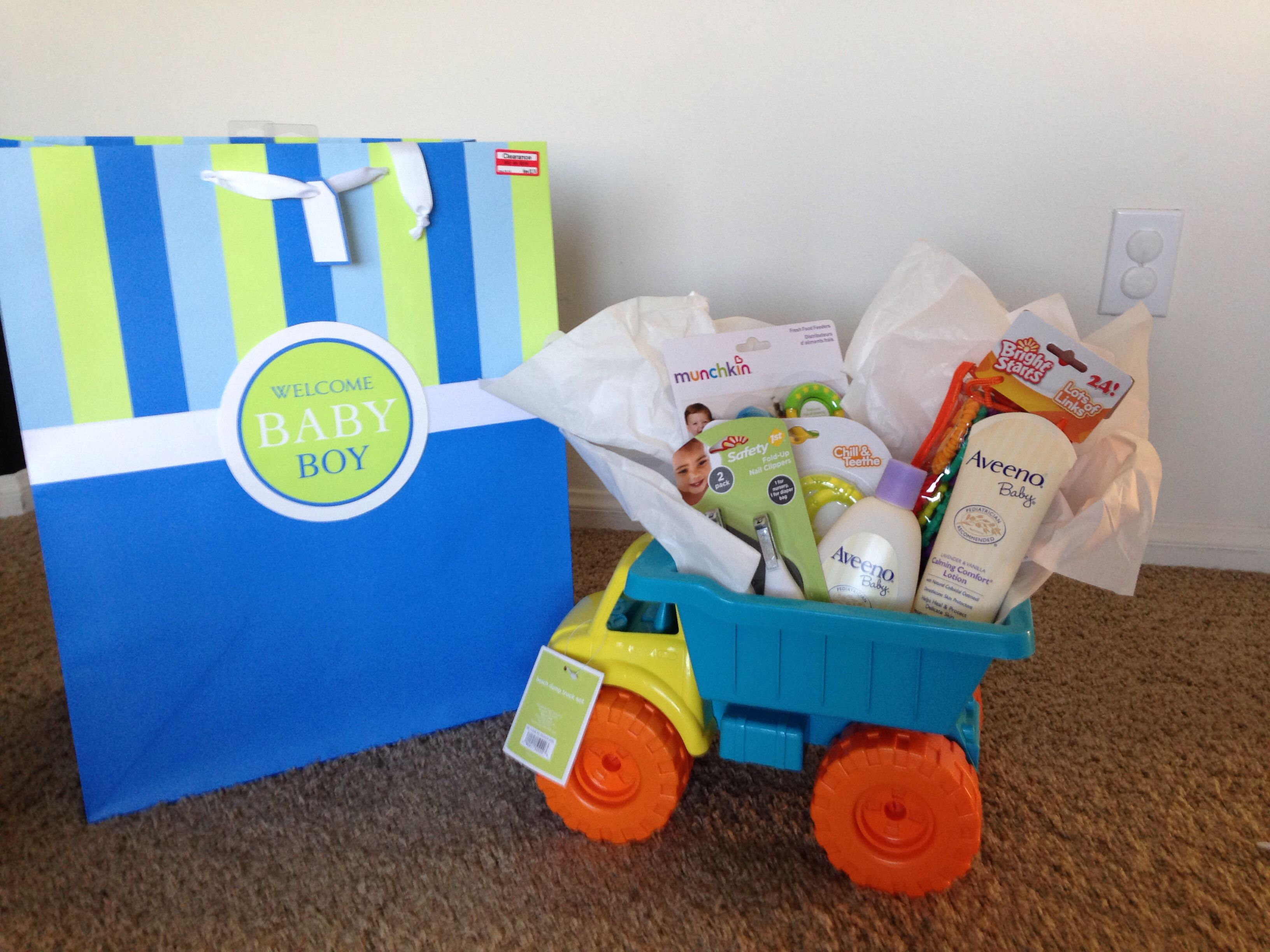 Baby Shower Gift Idea: toy truck filled with toys and bath supplies ...