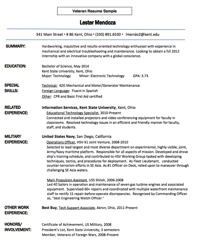 Veteran Resume Examples Cool 6 Veteran Resume Examples Job Apply ...