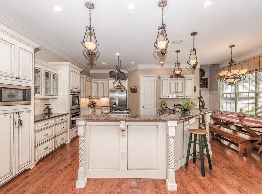 Antique-Kitchen-White-Cabinets-with-Custom-Island-and-Red ...