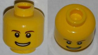Lego New Light Flesh Minifig Head Dual Sided Dark Brown Eyebrows Buck Teeth