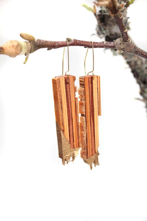 Gold Dipped Plywood Earrings by Stagwood on Etsy. Would be a cool necklace idea