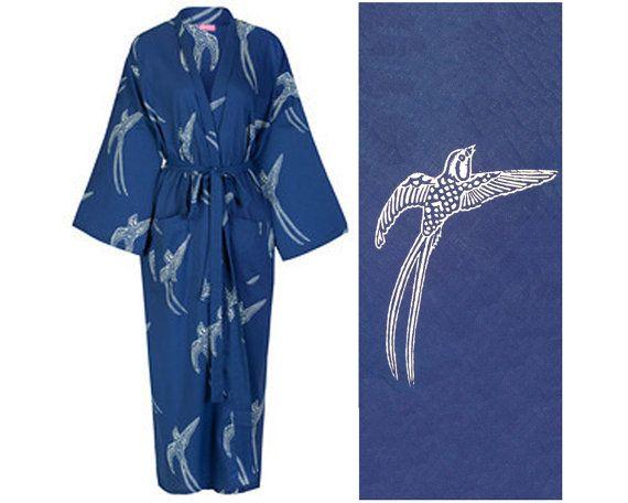 Cotton Kimono Robe - Dark Blue Kimono Robe - Lightweight Dressing Gown - Women s  Bathrobe - 100 % Cotton Bathrobe - Gift for Her c02399aad