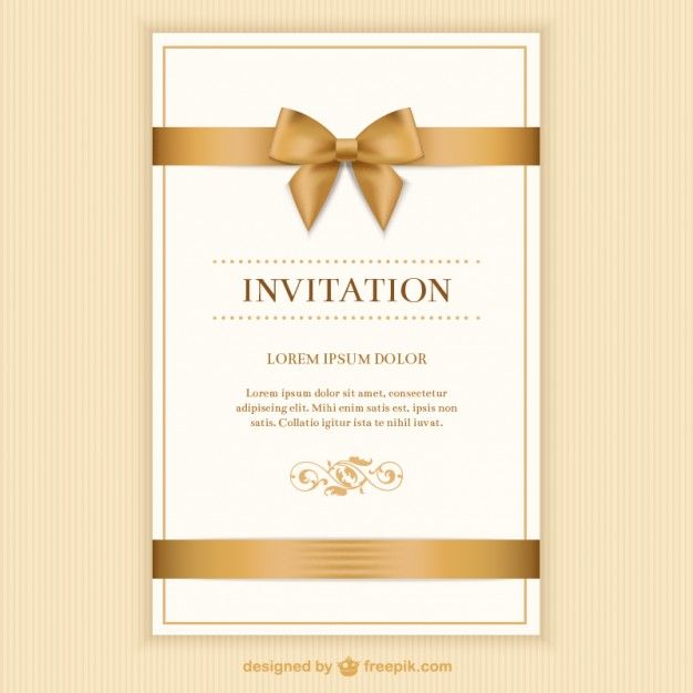 Retro Invitation Card With A Ribbon Free Invitation Cards