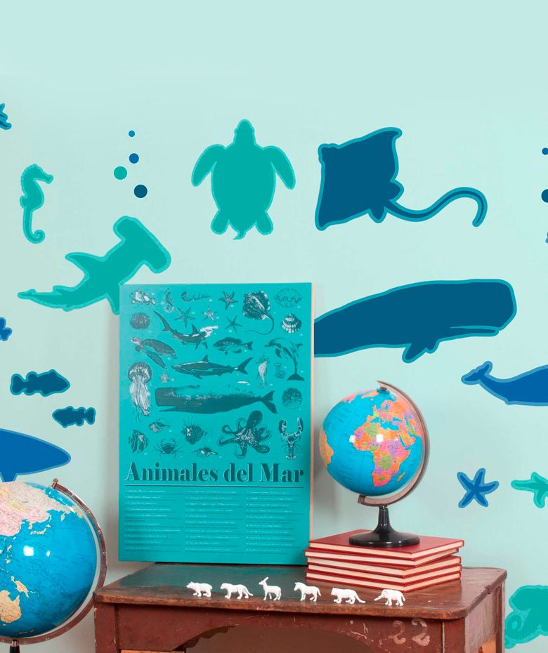 Mar animales marinos vinilo adhesivo decoraci n de for Decoracion paredes vinilos adhesivos