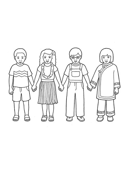 Line Drawing Holding Hands : A line drawing showing four children from around the world