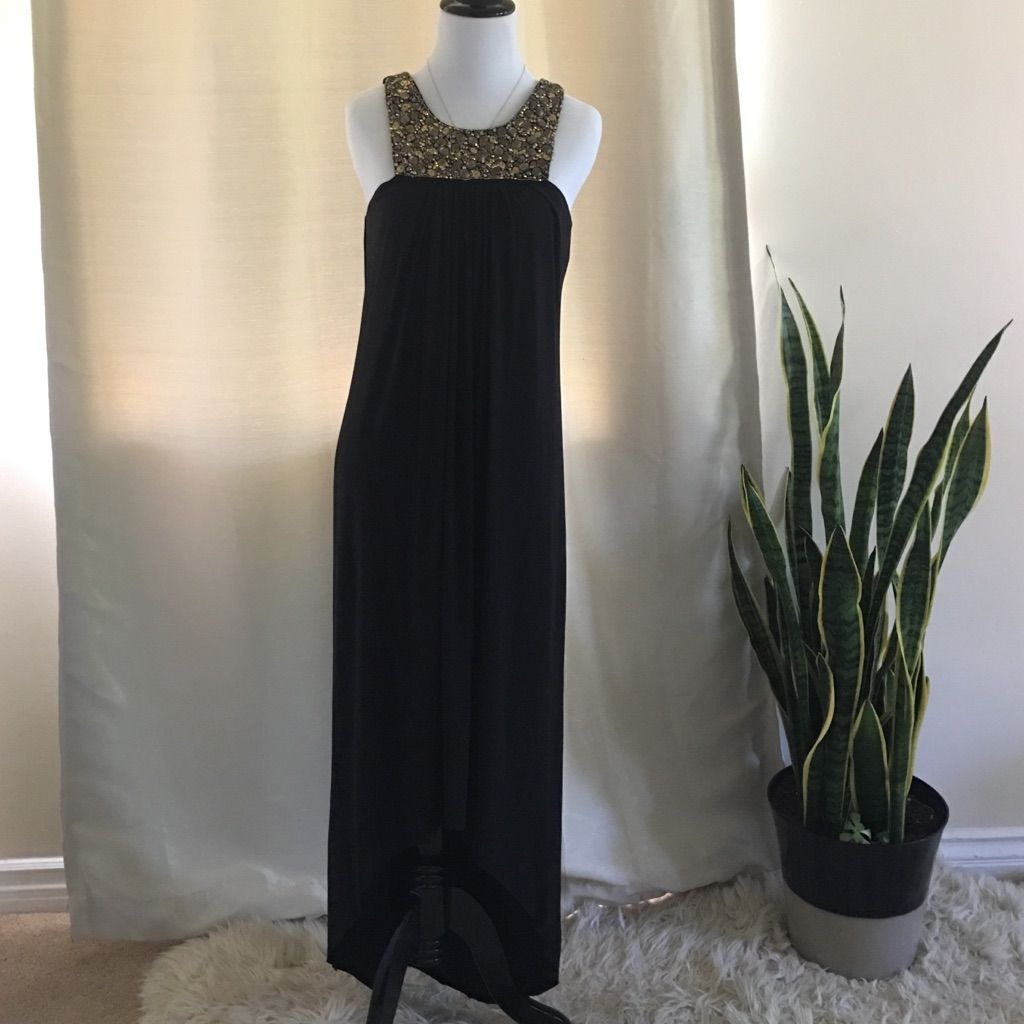 Tbags black formal dress w gold jewel detail products