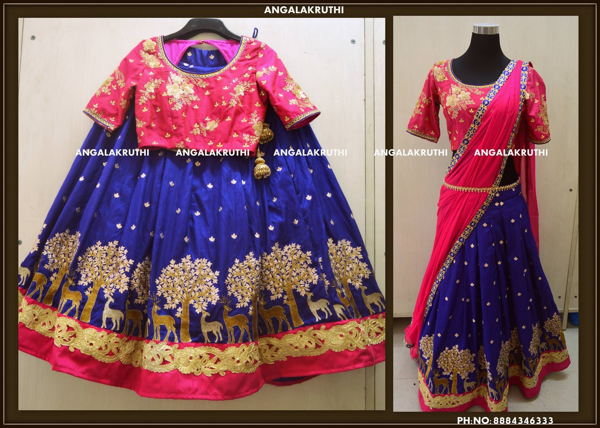 Beautiful mother and daughter duo from Angalakruthi. Gorgeous blue color lehenga with forest look design and pink color designer blouse.