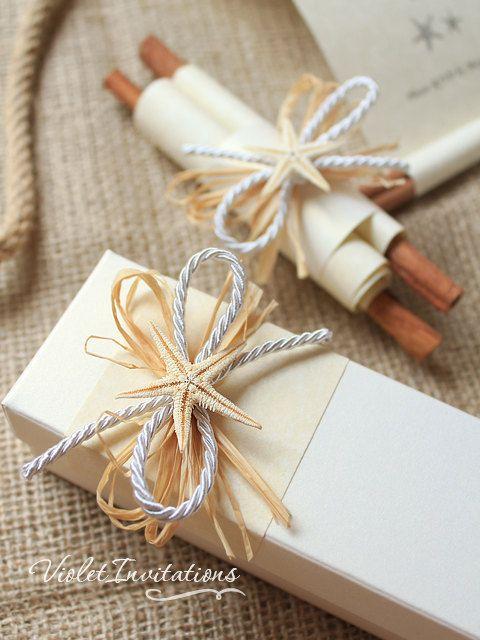 Sample Starfish Handmade Ivory Scroll Boxed Wedding Invitation