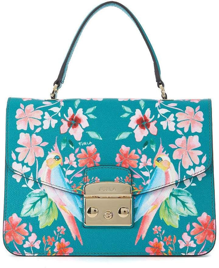 990730a77 $369, Furla Metropolis S Aqua Green Leather Handbag With Flowers And  Parrots #bags #handbags #handle #shoulderbag #furla #bolsa #style #shopstyle  #afflink # ...