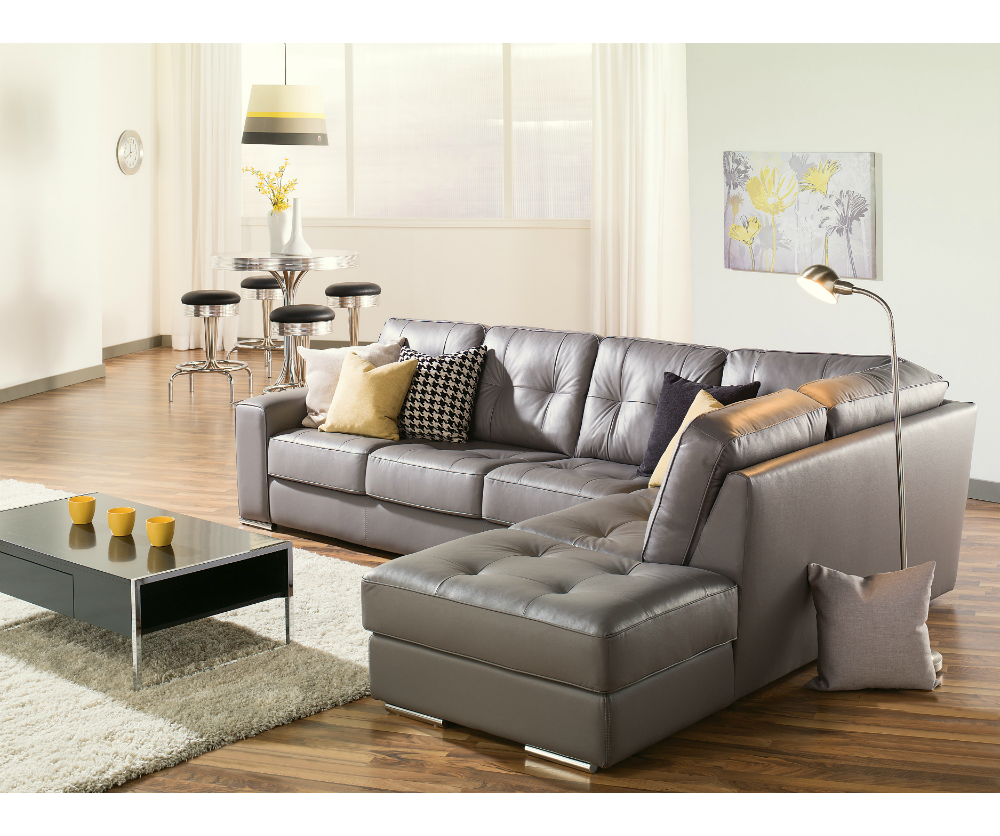Artem sofa 902511 rs grey leather sectional need lhf for Decorating with a grey couch