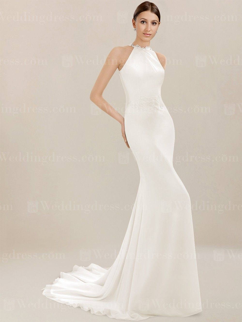 Chiffon Beach Wedding Dress Is A Fit And Flare Gown The High Neckline Features Lace Edging While Continuing To The Illusion Lace And Cowl Ba Wedding Dresses Lace Beach Wedding Dress