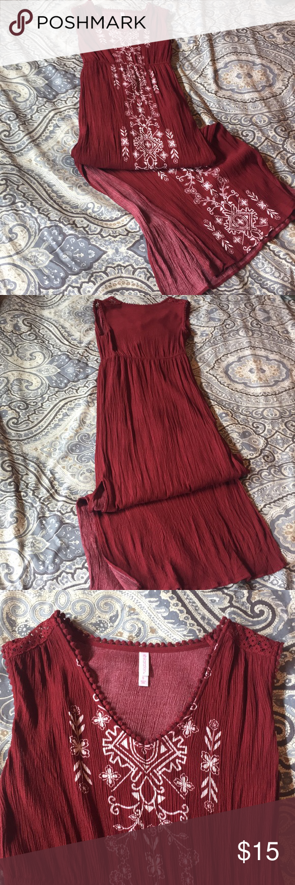 Xhilaration Maxi Great Summer Dress To Be Dressed Up Or Down Boho Vibe And Deep Reddish Burgundy Color Euc Worn Onc Clothes Design Summer Dresses Maxi [ 1740 x 580 Pixel ]