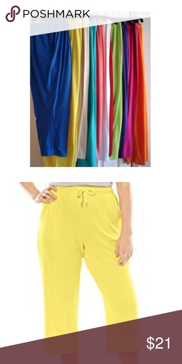 ffa1e57d5d8 3  21 ❤ Plus Size Drawstring Knit Capris Pants 2X 100% Cotton Plus Size  Drawstring Elastic Waist Knit Capris Yellow Sun Bay Pants