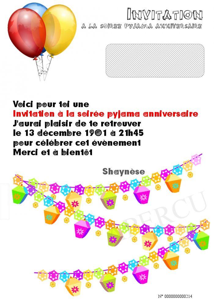 Invitation a la soiree pyjama anniversaire   Evenement