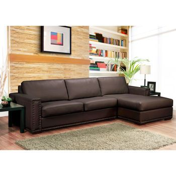Trieste Brown Leather Sofa With Right Hand Chaise Costco
