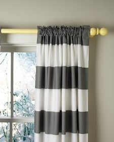 gray & white striped curtains with a pop of color for the rod. obsessed - want this in my bedroom. right meow.