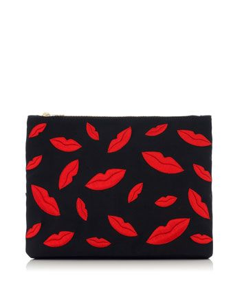 Kiss Me Lips Zip Pouch, Black by Charlotte Olympia at Neiman Marcus.