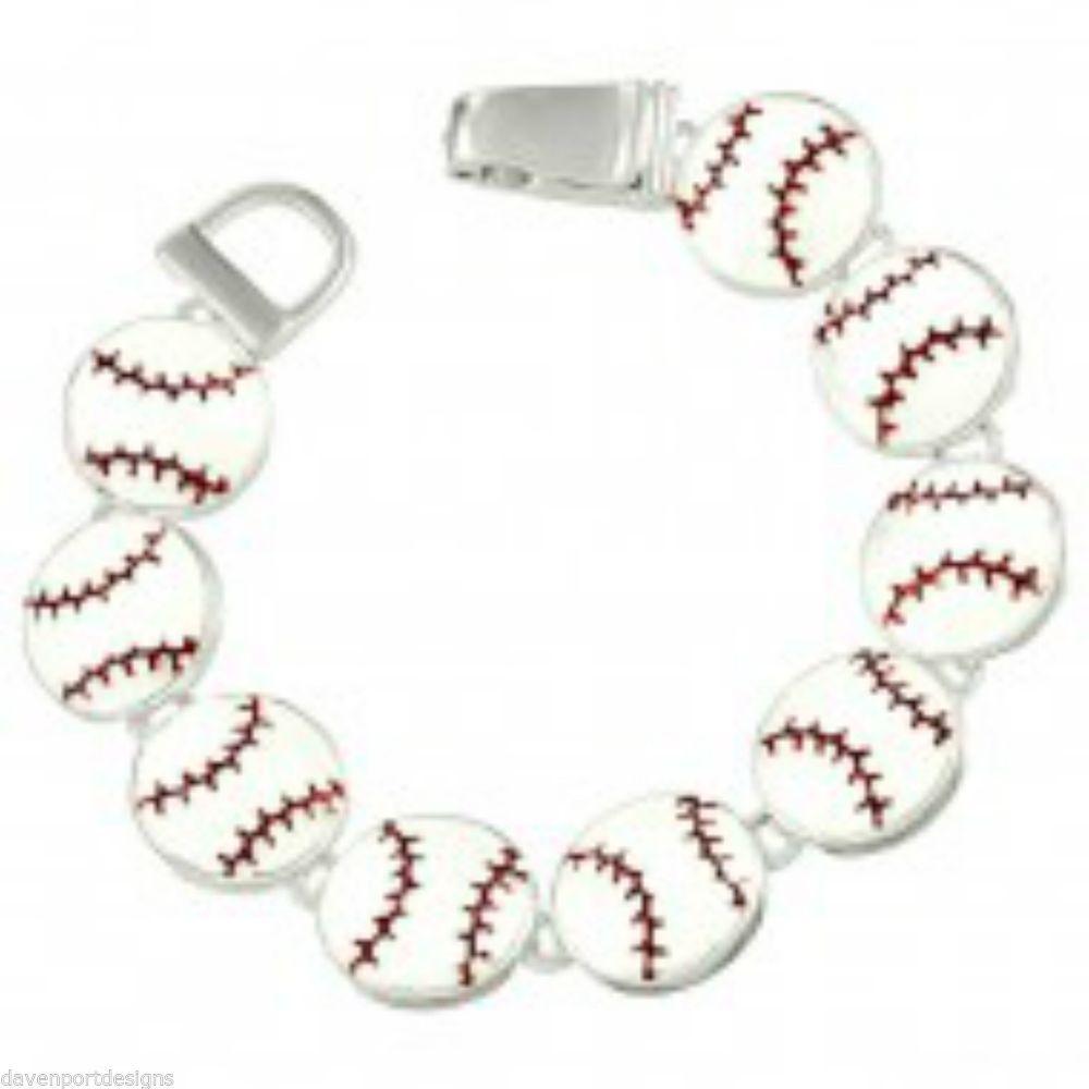 "Baseball Bracelet Metal Sports Mom Coach Gift Field Magnetic Link Jewelry 7.5"" #DavenportDesigns #Magnetic"