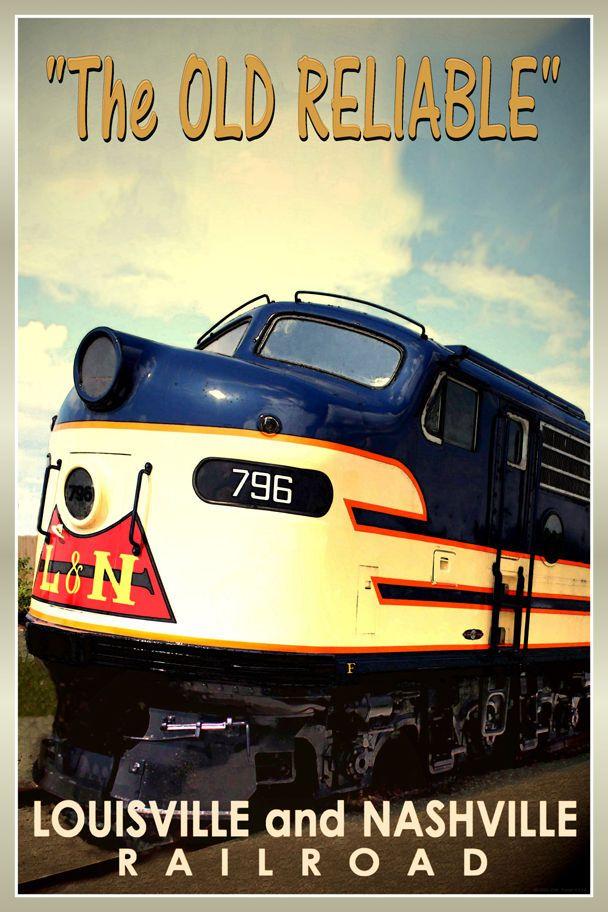 Louisville & Nashville Old Reliable New Retro Railroad Train Poster-Art Print164 | eBay