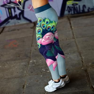 a3b78d12fa216 Cute Funny Peacock Feather Pig 3D Legging Yoga Pant Design Store For Sale