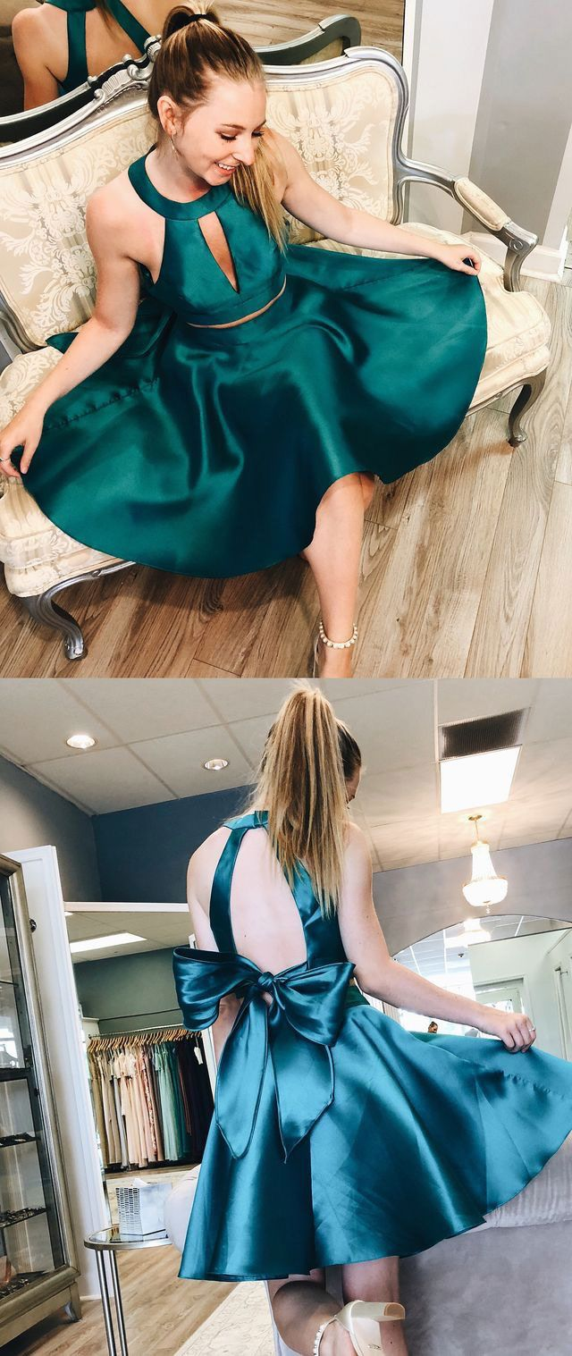 Dark turquoise two piece homecoming dresses with bowknot from