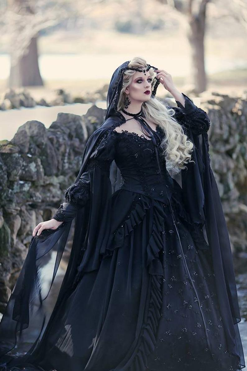 This Item Is Unavailable Etsy Black Wedding Gowns Black Wedding Dresses Gown With Cape [ 1191 x 794 Pixel ]