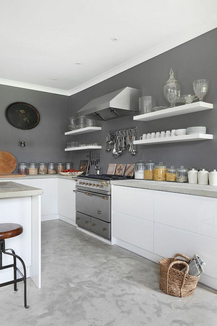 peinture murale de cuisine grise et blanche