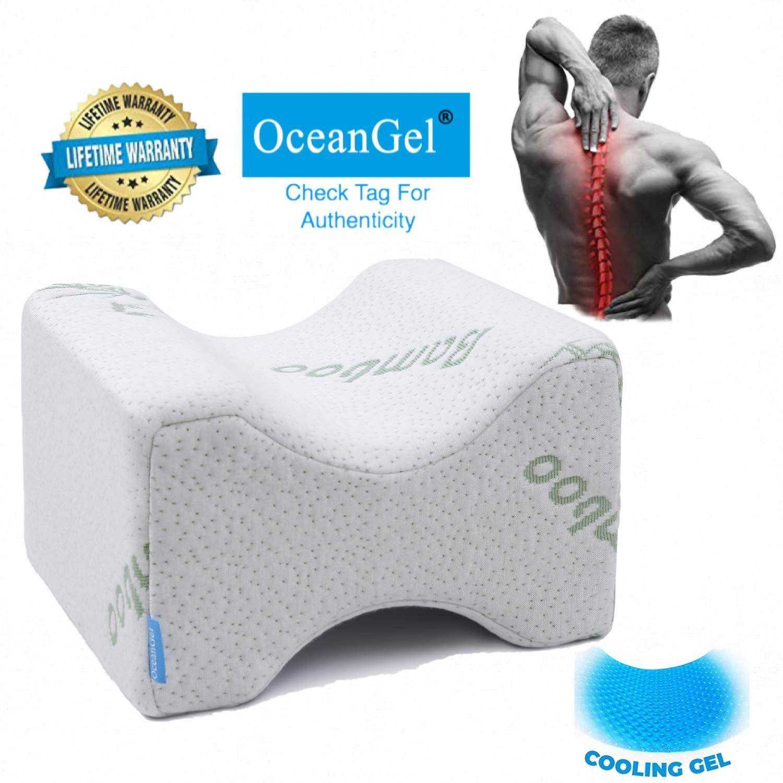 cooling gel memory foam knee pillow leg