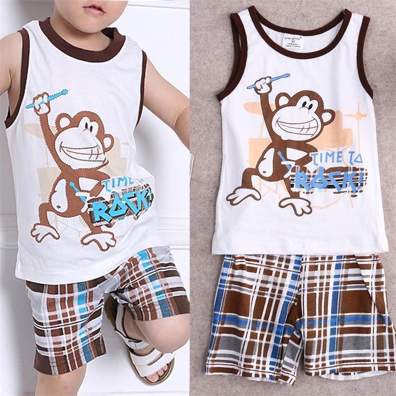cba2f015c6d8 Toddler Kids Baby Boys Summer Outfits T-shirt Tank Tops+Pants 2pcs Clothes  Set  Divawear