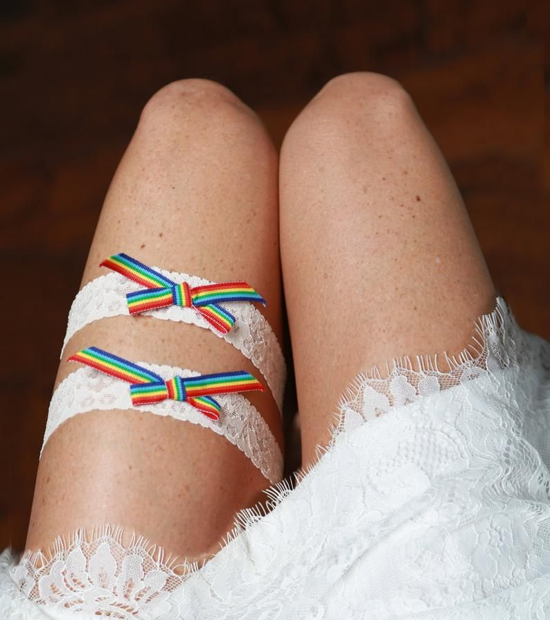 Rainbow wedding garter set, LGBT garter set, Pride garter set, Mrs and Mrs Rainbow wedding garter set, lesbian wedding bridal garter set