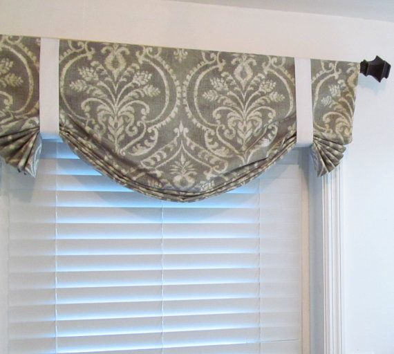Tie Up Curtain Valance Gray Ivory Swavelle Mill Creek Damask You Choose The Fabric And Size Tie Up Curtains Curtains Window Decor