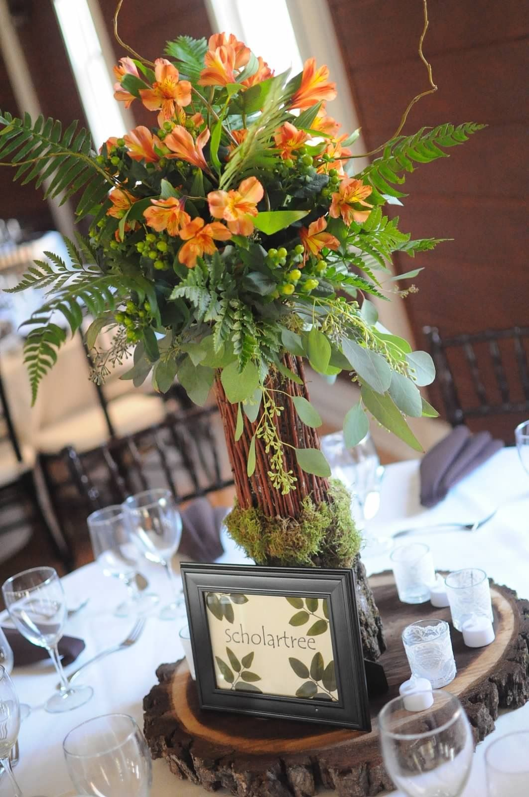 My fall themed tall wedding centerpieces made of natural