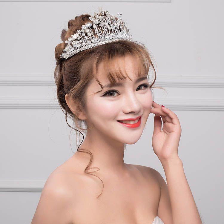 Silver bridal tiara rhinestone based wedding crown wired crystal silver bridal tiara rhinestone based wedding crown wired crystal junglespirit Gallery