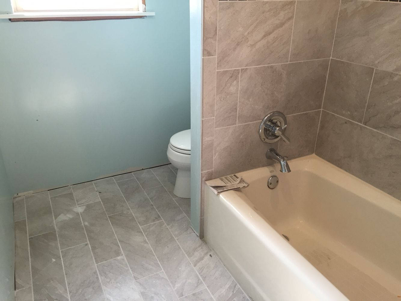 semi gloss paint bathroom. Bathroom Renovation- Large Rectangle Grey Tile From Lowes, \ Semi Gloss Paint