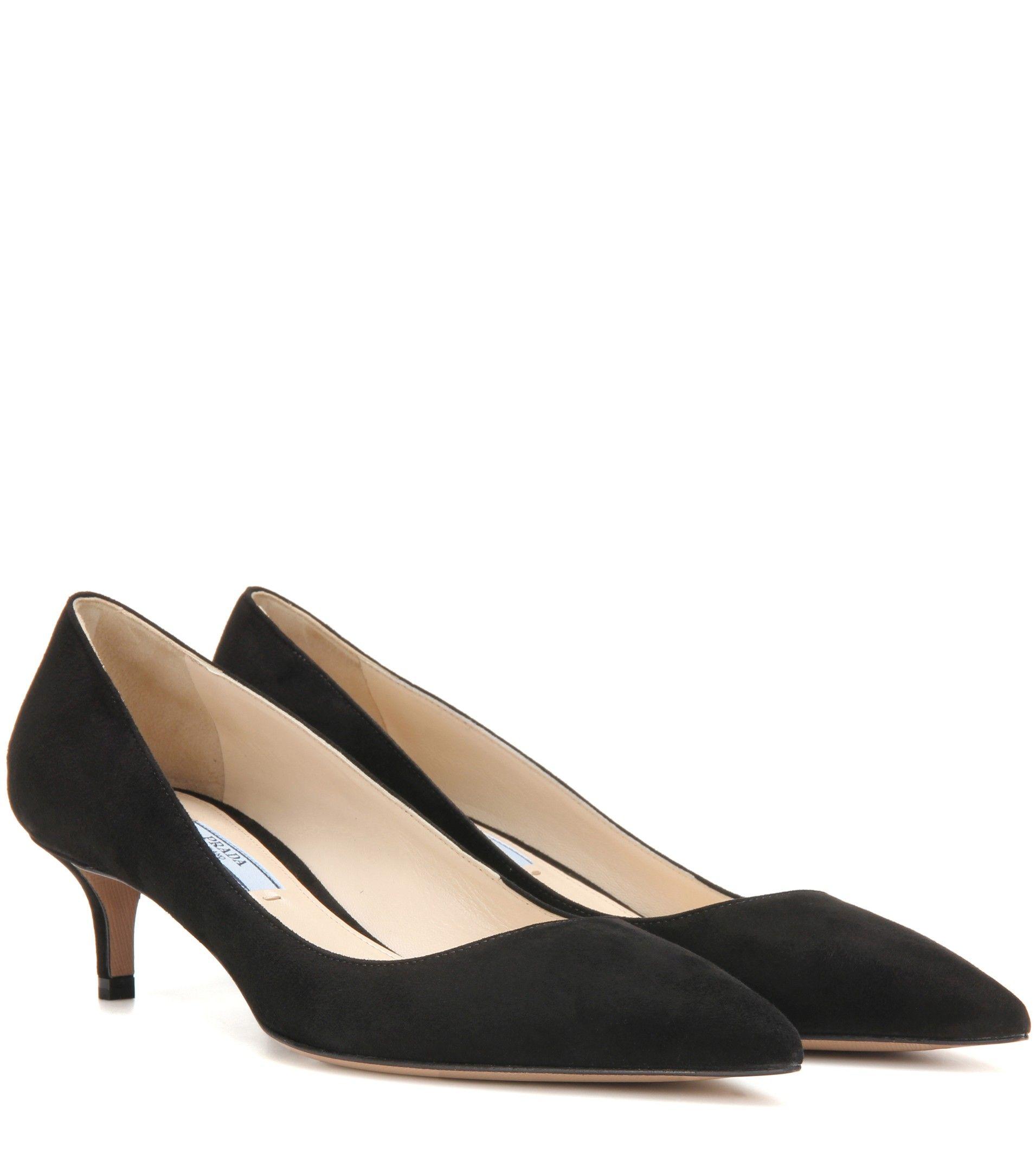 Prada Suede Kitten Heel Pumps Black Kitten Heel Pumps Black Suede Shoes Black Pumps Heels