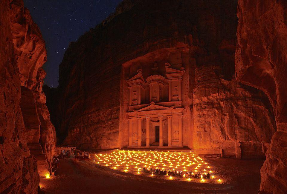 night at treasury, petra, jordan