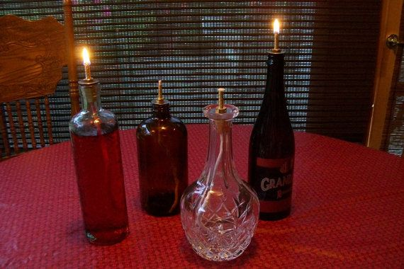 Convert All Most Any Decanter Or Bottle Into An Oil Lamp