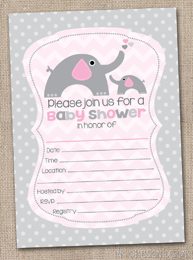 Blank Baby Shower Invitation Ideas Party Card