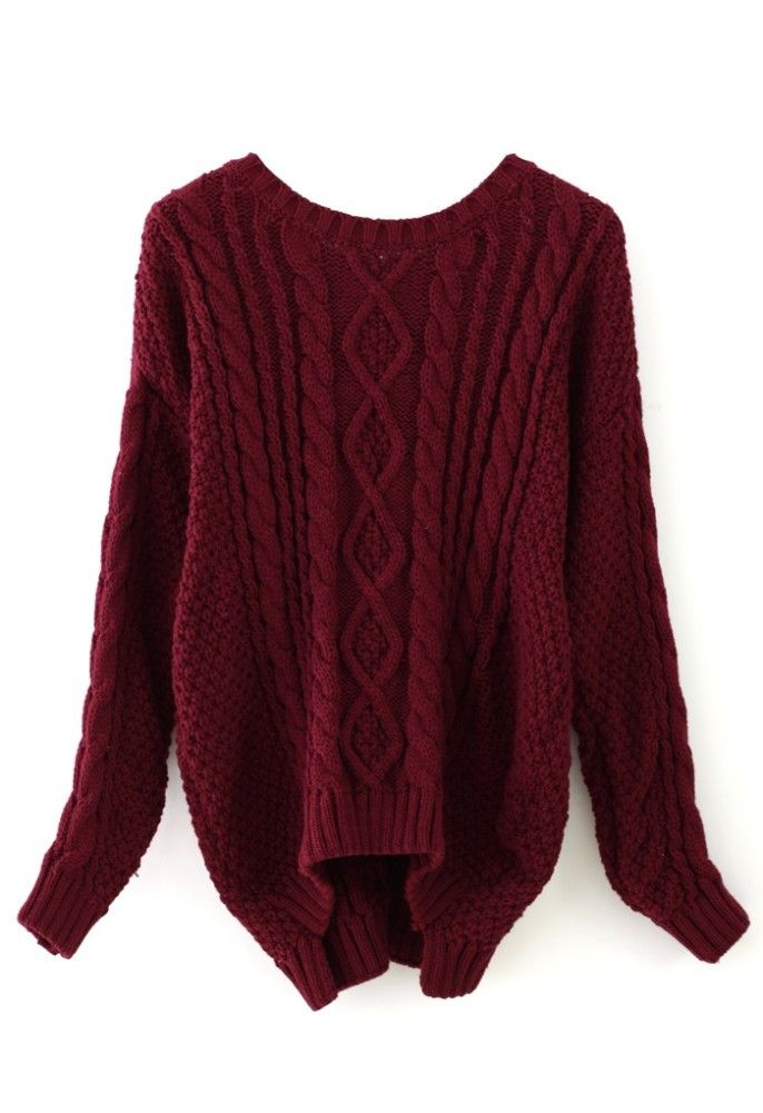 4659c01052 Over sized Wine Red Cable Knit Sweater. i can t even describe how much I  want this!!! Found on chicwish.com
