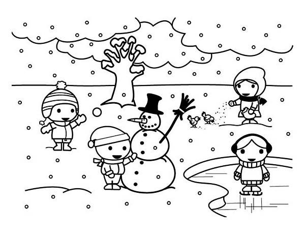 Kids Playing Snowman On Frozen Winter Lake Coloring Page