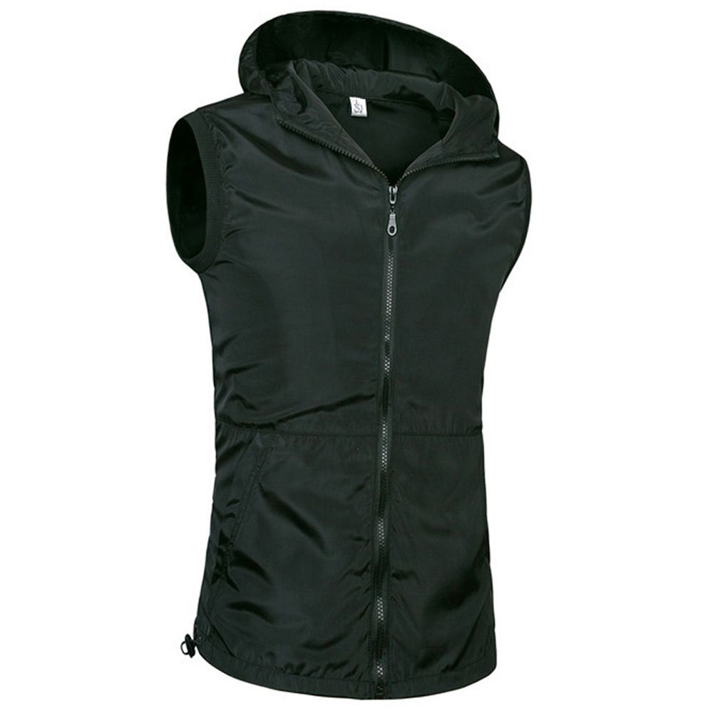 Click to buy ucuc zipper up hooded hoodie men sleeveless fitness