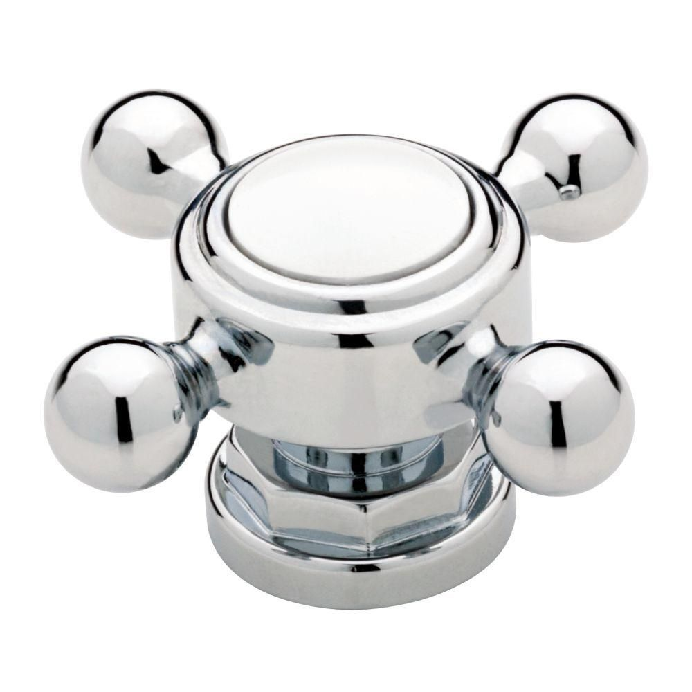 Liberty 2 in. Chrome and White Vintage Faucet Cabinet Knob | Faucet ...