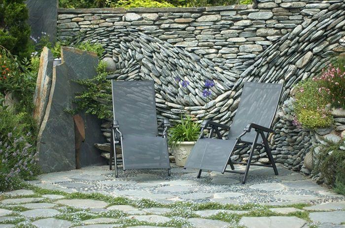Garten Sichtschutz-Mauerwerk mit Naturstein-verspielte Gestaltung ...