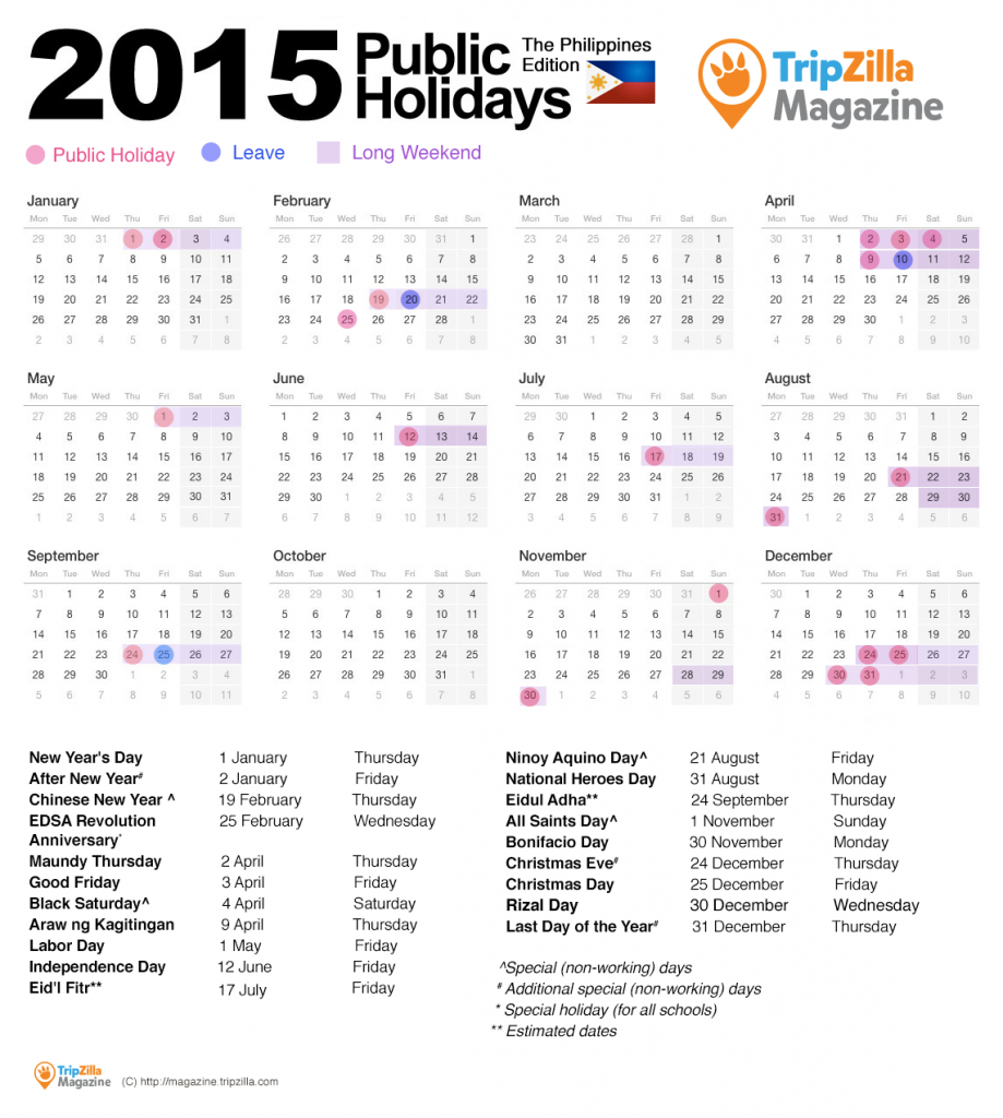 13 Long Weekends In The Philippines In 2015 National Holiday Calendar Long Weekend Philippine Holidays
