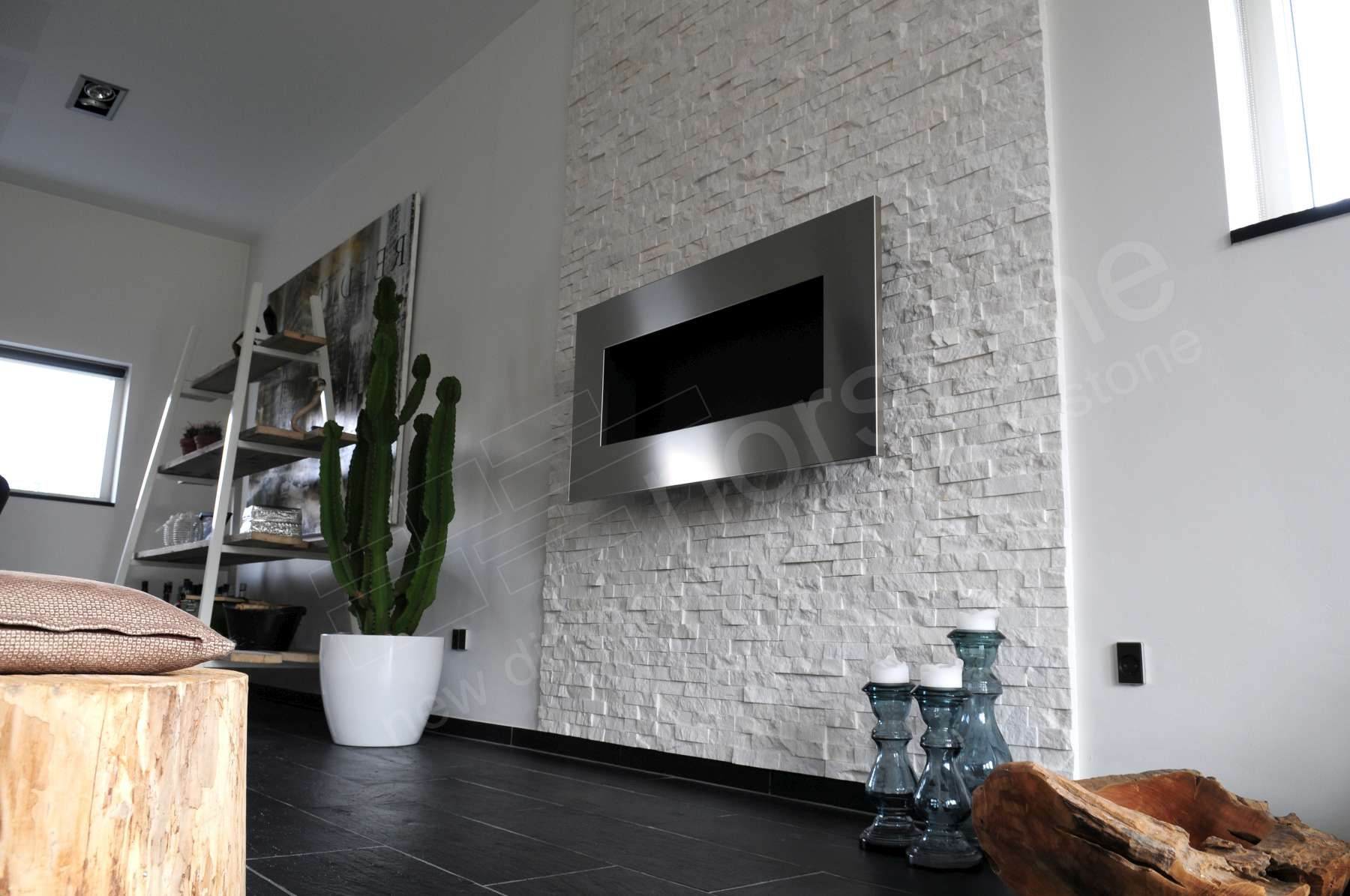 Guest Blogger The Beauty Of Natural Stacked Stone In Your Home White Stone Fireplaces Faux Brick Panels Faux Stone Panels