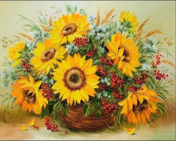 Подсолнухи в корзине | Подсолнухи, Раскраска по цифрам и Цветы